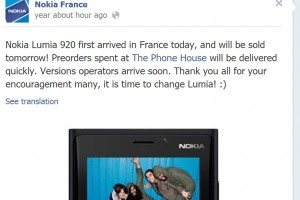 Nokia Lumia 920 shipped to France, Available Tomorrow