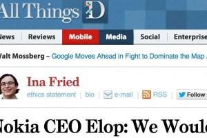 Stephen Elop interviewed at All Things D: Nokia not a white box manufacturer