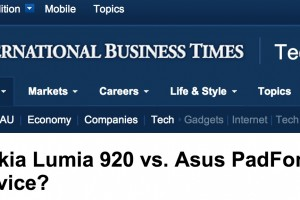 iBTimes says more megapixels is better when comparing Nokia Lumia 920 to Padfone 2. LOL.