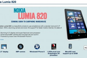 Nokia Lumia 820 coming to Carphone Warehouse, expected November 2012