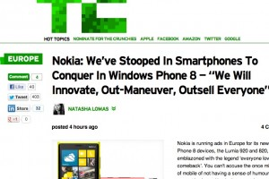 "Nokia: ""We Will Innovate, Out-Maneuver, Outsell Everyone"" – TechCrunch (Possibly WP for Asha?)"