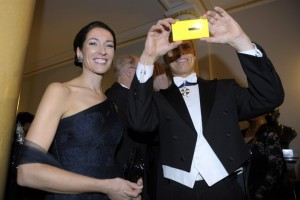 Minister of European Affairs and Foreign Trade and his Electric Pikachu Yellow Nokia Lumia 920 at Independence Day Reception