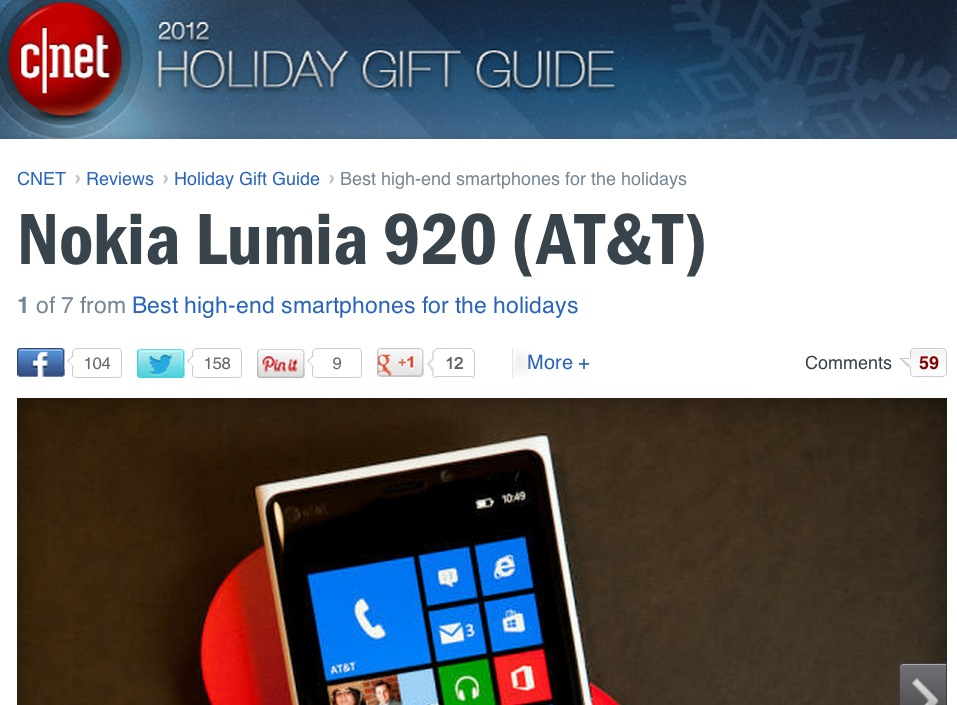 CNET's 2012 Holiday Gift Guide puts Nokia Lumia 920 as #1 ...