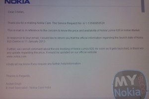 Nokia Care India confirming Nokia Lumia 920 for Friday, January 11th
