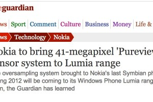 Guardian says Nokia Lumia to come with 41MP camera sensor this summer.