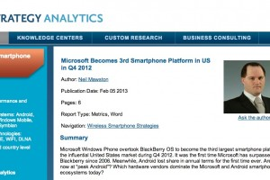 Strategy Analytics: WP overtakes BlackBerry and becomes 3rd platform in US for Q4 2012?