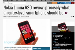 Engadget Reviews the Nokia Lumia 620: Precisely what an entry level smartphone should be