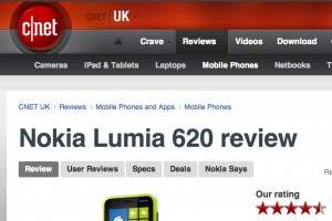 More love for the Nokia Lumia 620. CNet and Pocket-lint give 4.5 stars out of 5!