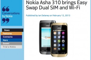 Nokia Asha 310 officially announced – with Easy Swap Dual SIM and WiFi – available Q1 2013