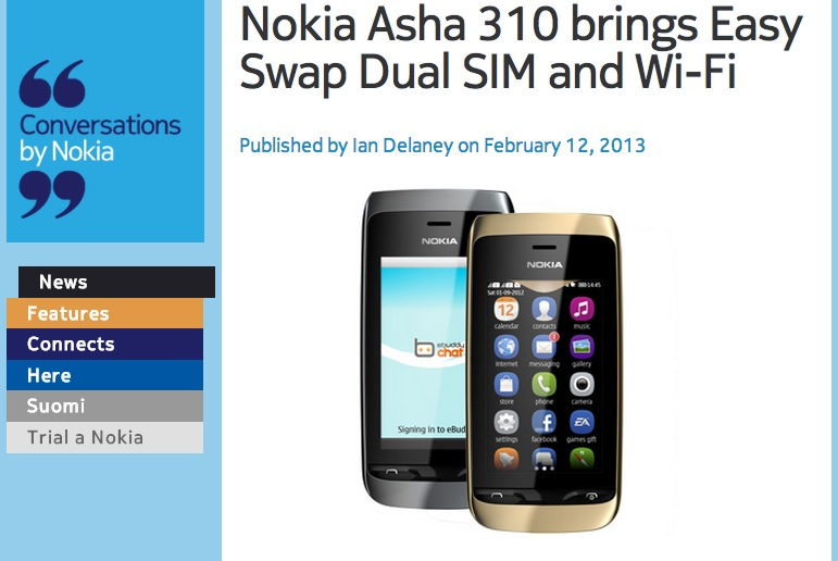nokconv has just announced the nokia asha 310 with easy swap dual sim