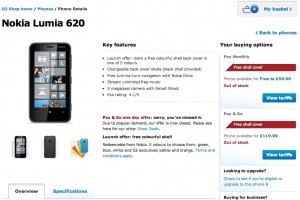 Nokia Lumia 620 sold out on O2 promo, (price back up now, due for 7-day delivery)