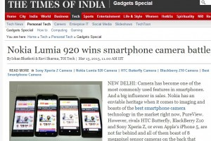 Times of India crowns Nokia Lumia 920 as best smartphone camera too, against HTC Butterfly, Sony Xperia Z and BB Z10