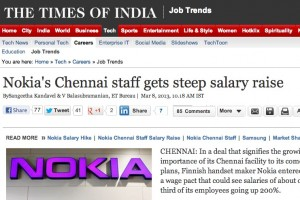 Steep Salary Raise for Nokia's Chennai Staff