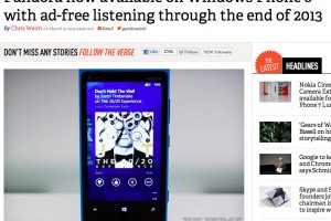 "Pandora now available fo WP8, available with ad-free listening – ""the best way of listening on a smartphone"""