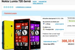 Nokia Lumia 720 available for €308.33 in Slovakia