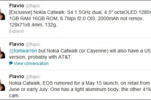 Rumours: Nokia EOS 41MP; Nokia Catwalk specs, OctaOLED, 8.4mm slim, 2000mAh, f2.0 with OIS, May 15th