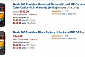 Nokia 808 PureView, 345USD at Amazon.