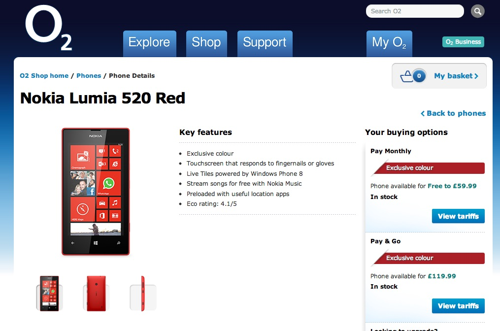 nokia lumia 520 price. red nokia lumia 720 and 520 available on o2-uk price