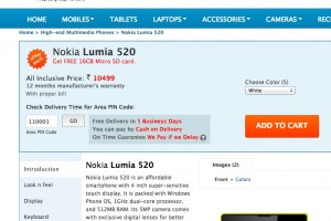 Nokia Lumia 520 available in India, with free 16GB microSD card.