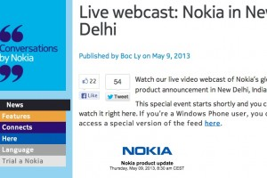 Live Webcast of Nokia New Delhi India event