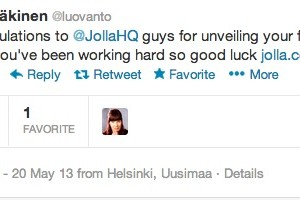 Nokia's Jussi Mäkinen congratulates Jolla crew on their first phone