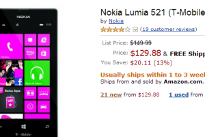 Lumia 521 for $129 on Amazon