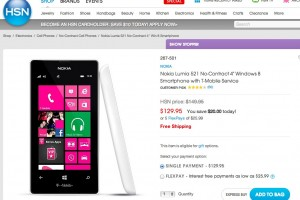 4″ Nokia Lumia 521 No Contract, 129.95USD at HSN