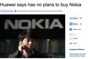 Nowei! Huawei says they have NO plans to buy Nokia