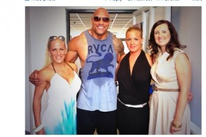 @TheRock gets 'exclusive' Nokia phone, poses with some hot Nokia Execs #1020