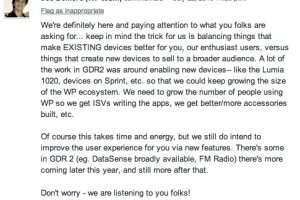 Joe Belfiore 'We're listening..more updates this year after GDR2′, response on WP's lack of major OS updates