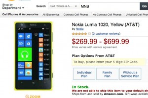 Nokia Lumia 1020 on Amazon.com for $269.99