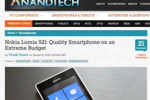 AnandTech: Nokia Lumia 521: Quality Smartphone on an Extreme Budget