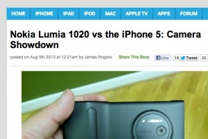 "iSource compares cameras of Nokia Lumia 1020 with iPhone 5, ""As much as I like the iPhone, the 1020 bests it"""