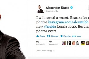 "Alexander Stubb, Minister for Finland, loving his Nokia Lumia 1020 ""best high quality photos ever!"""