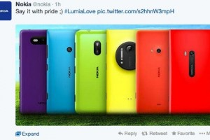 "Nokia tweets LGBT support: ""Say it with Pride"" with Rainbow Lumia Colours #LumiaLove #SameLove"