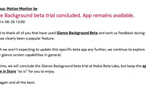 Glance Background Beta will no longer get updates but will stay in store