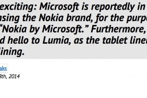 Better Branding: Nokia by Microsoft, with Lumia for tablets instead of Surface says @evleaks