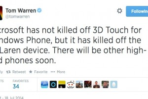 Superphone 3D Touch Nokia 'McLaren' is killed, but 3D touch will still be a part of WP.