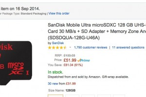 Sandisk 128GB MicroSD Card for £51.99/$84 on Amazon UK – UHS-1 Class 10