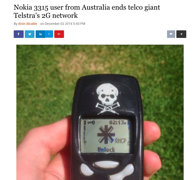Telstra invites Nokia 3315 user to make final call and shut down their 2G network