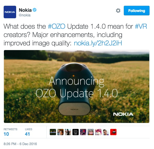 Nokia OZO update: official release for Windows, new innovations and advanced VR