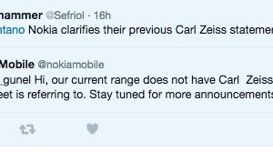 Clarification: Zeiss not ruled out; @NokiaMobile says 'current' line up doesn't but stay tuned for more announcements