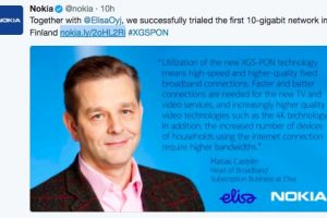 Nokia and Elisa trial first 10-gigabit network in Finland